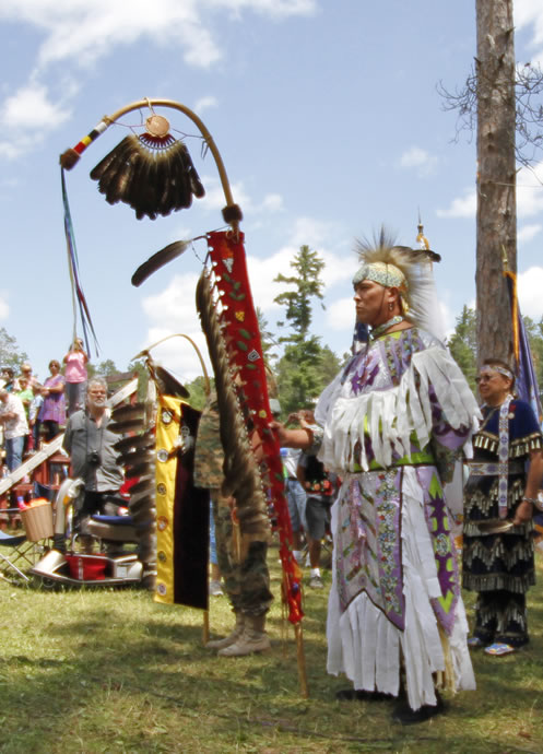 Grand Entry at the Lac du Flambeau Bear River Powwow. (Courtesy Dean Hall/Lakeland Times)