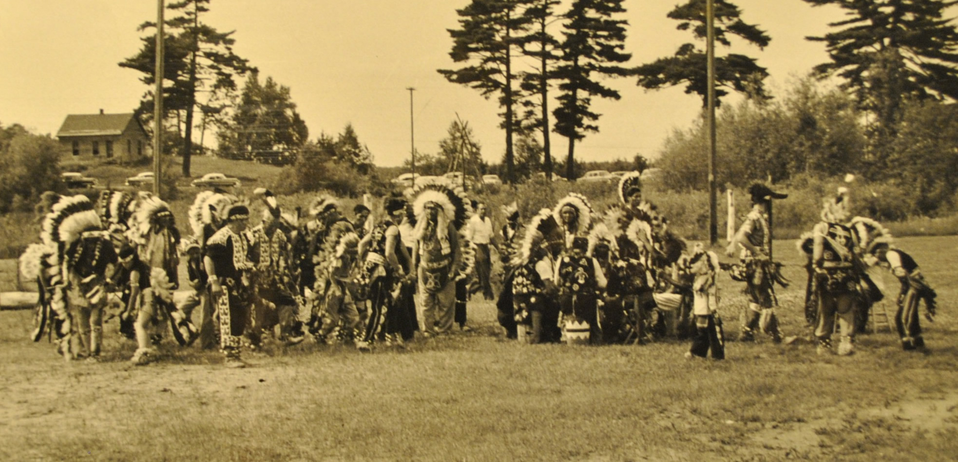 A historic photo of dancers at the Lac du Flambeau Chippewa Indian Bowl, circa 1958. (Courtesy George W. Brown, Jr. Museum)