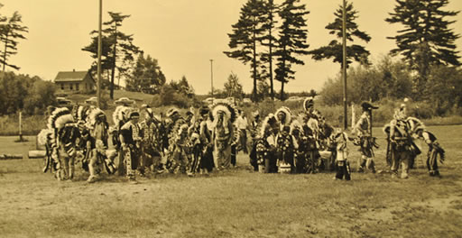 A historic photo of dancers at the Indian Bowl in the 1950s. (Courtesy George W. Brown, Jr. Museum)