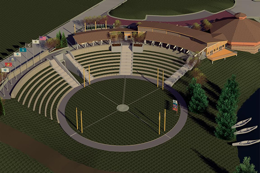 The new Indian Bowl arena includes no-mow grass and cultural motifs. (Courtesy Meyer Group Architecture)