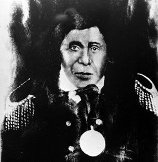 Kechewaishke (Chief Buffalo) was principal chief of the Lake Superior Band ofChippewa Indians. His indefatigable determination saved the Lac du Flambeau people from U.S. Indian removal efforts. (Courtesy Wisconsin Historical Society, #3957)